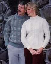 FAMILY KNITS DOUBLE BEEHIVE 436 FAIR ISLE CABLES CARDIGAN PULLOVER COATS... - $4.98