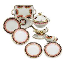 DOLLHOUSE Black Rose Dinner for Four 13913 Reutter Porcelain 2015 Miniat... - $36.00