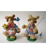Bunny Rabbit Couple Statue Figurine Painted Gardening Flowers Bird Fish ... - $24.00