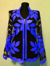 V Neck Blue Real Leather Leaf Jacket Womens All Colors Sizes Lamb Skin S... - $115.00+