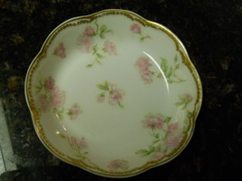 "Haviland SCHLEIGER 39D Double Gold Fruit Bowl 5 1/8"" Pink Roses - $15.79"