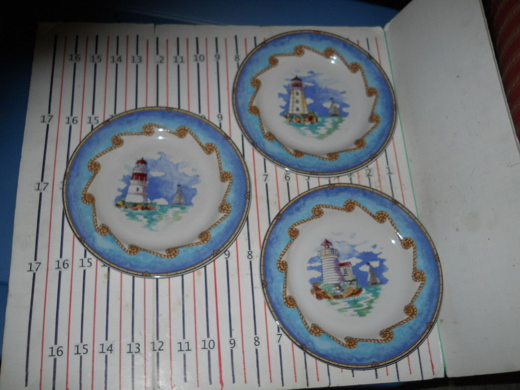 Primary image for FITZ & FLOYD SHORE LIGHTS   SET OF 3 SALAD PLATES