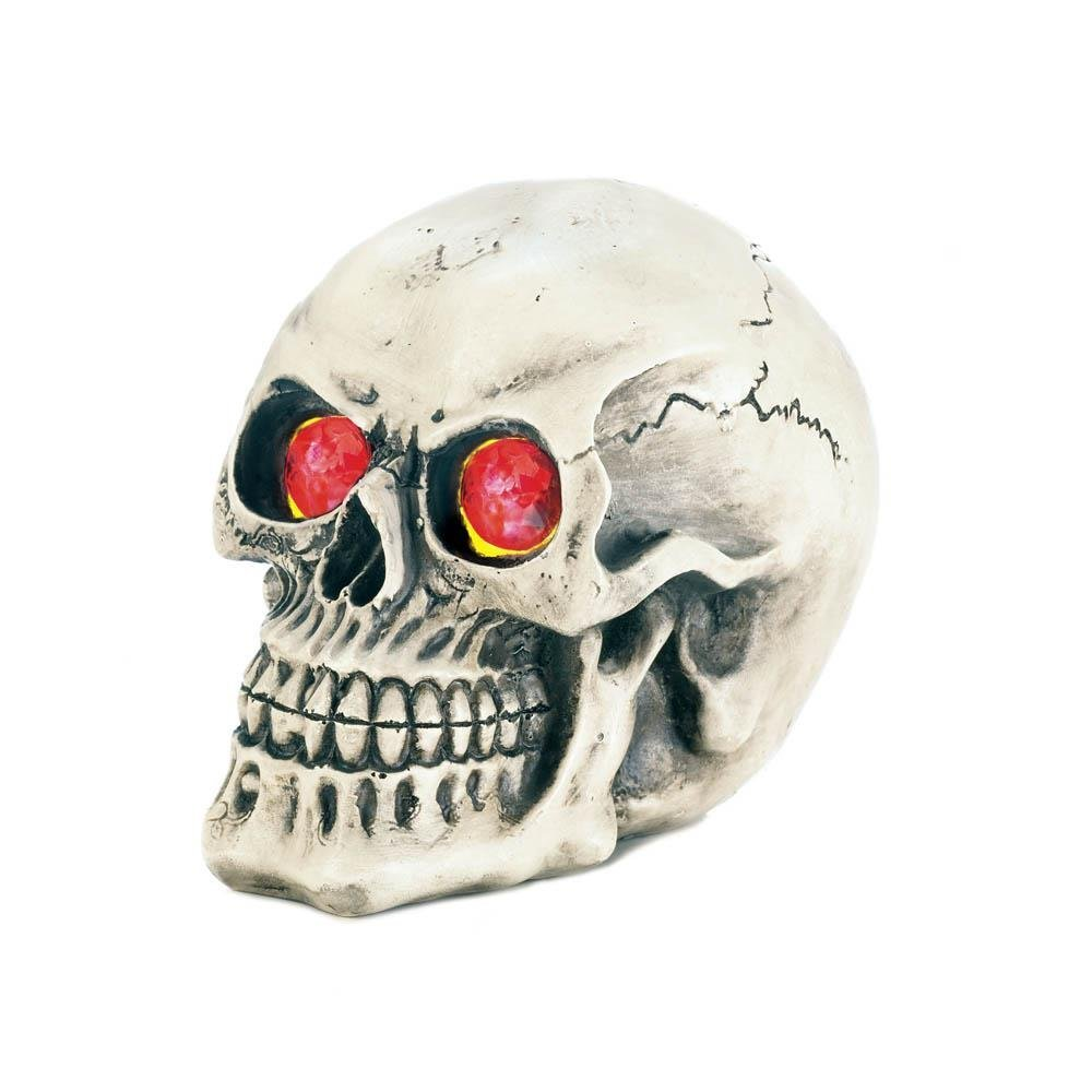 Skull Figurines, Led Light-up Eyes Kitchen Bathroom Statue Skull Room Decor