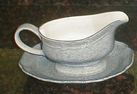MIKASA STONE WORKS LIGHT BLUE GRAVY BOAT - $26.72