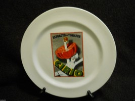 """POTTERY BARN VINTAGE POSTERS DINNER PLATE EXTRACT TOMATES 11 1/2"""" - $16.82"""