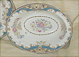 SHELLEY SHERATON BLUE SCALLOPED OVAL SERVING BOWL - $88.11