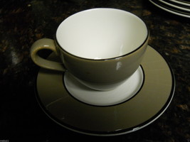 PAGNOSSIN SPA TAUPE CUP AND SAUCER SET CRAZED SAUCER - $3.91