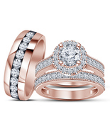 14k Rose Gold Finish 925 Sterling Silver His & Her Wedding Diamond Trio ... - £119.08 GBP