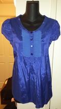 NWOT H&M Periwinkle Blue Ruffle Front Shirt sz US10 (6-8) Viscose/Cotton - $19.99