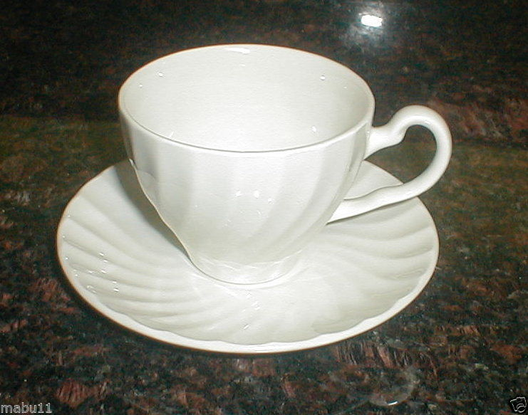 Primary image for JOHNSON BROS BROTHERS REGENCY WHITE SWIRL CUP AND SAUCER SET