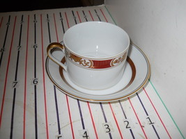 FITZ & FLOYD FLEUR ORINENTALE RUST RED CINNABAR CUP AND SAUCER - $9.88