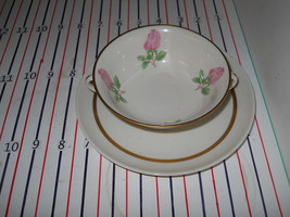 FRANCISCAN CHEROKEE ROSE WIDE BAND CREAM SOUP CUP AND SAUCER - $14.35