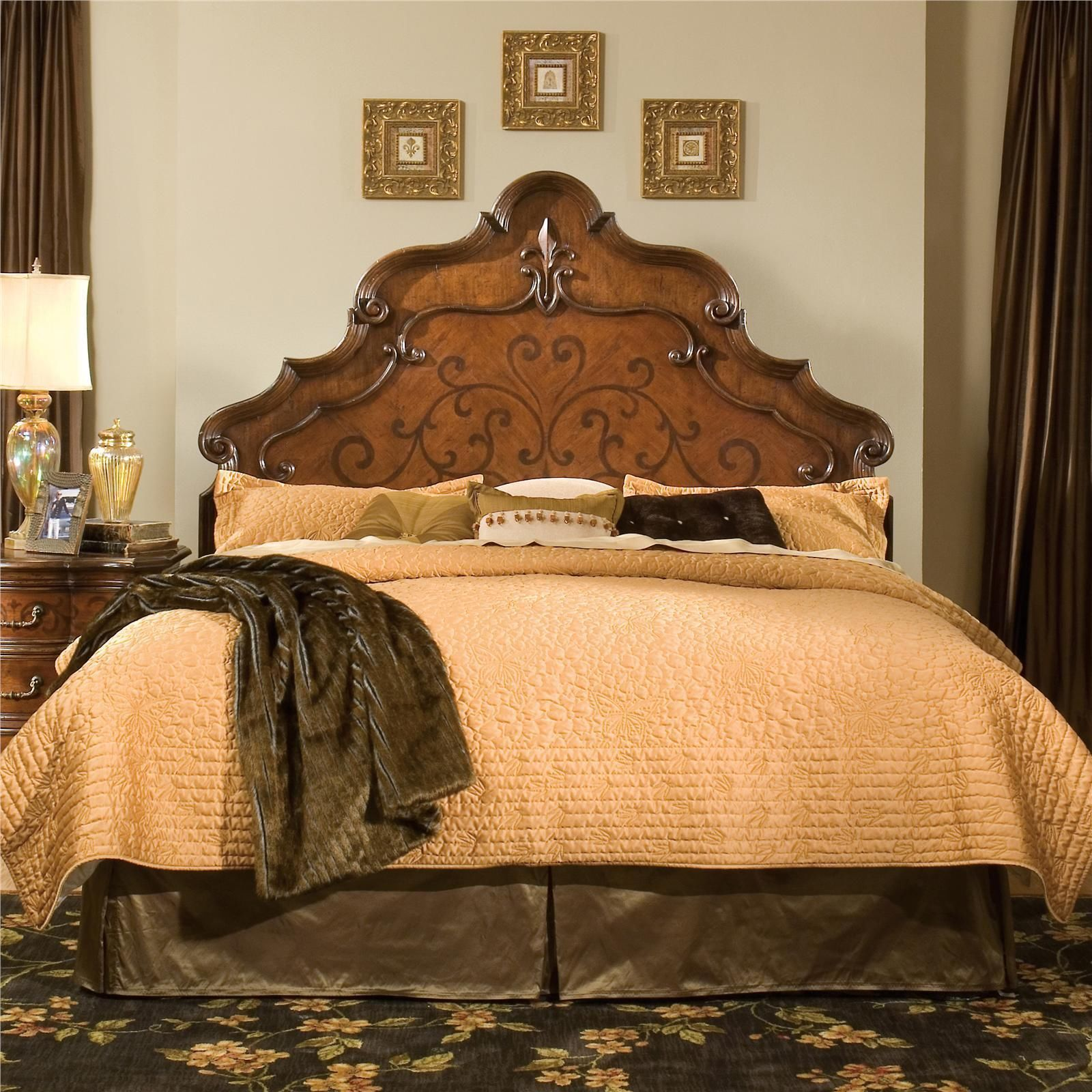 Elegant hand carved marquetry queen or king size headboard