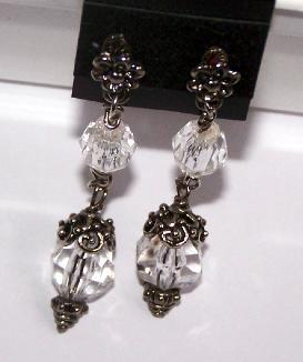 Bali Sterling Crystal Post Earrings Old Fashioned Look