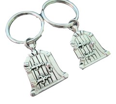 Two Silver Castle Door Locket Key Chains for Friends, Family, BFFs - $22.00