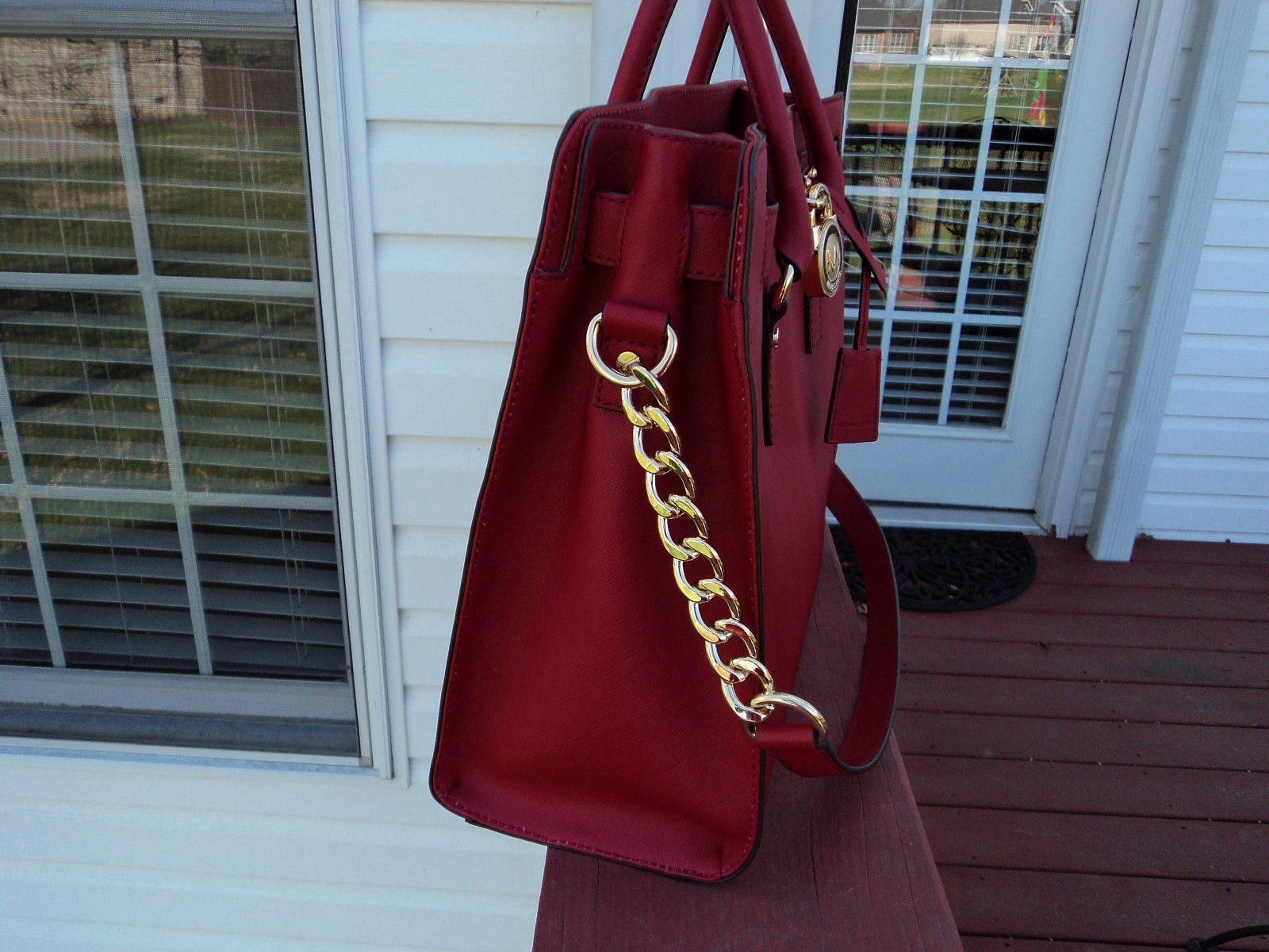 Authentic Michael Kors Hamilton Large North South Tote Saffiano Leather Red  NWT