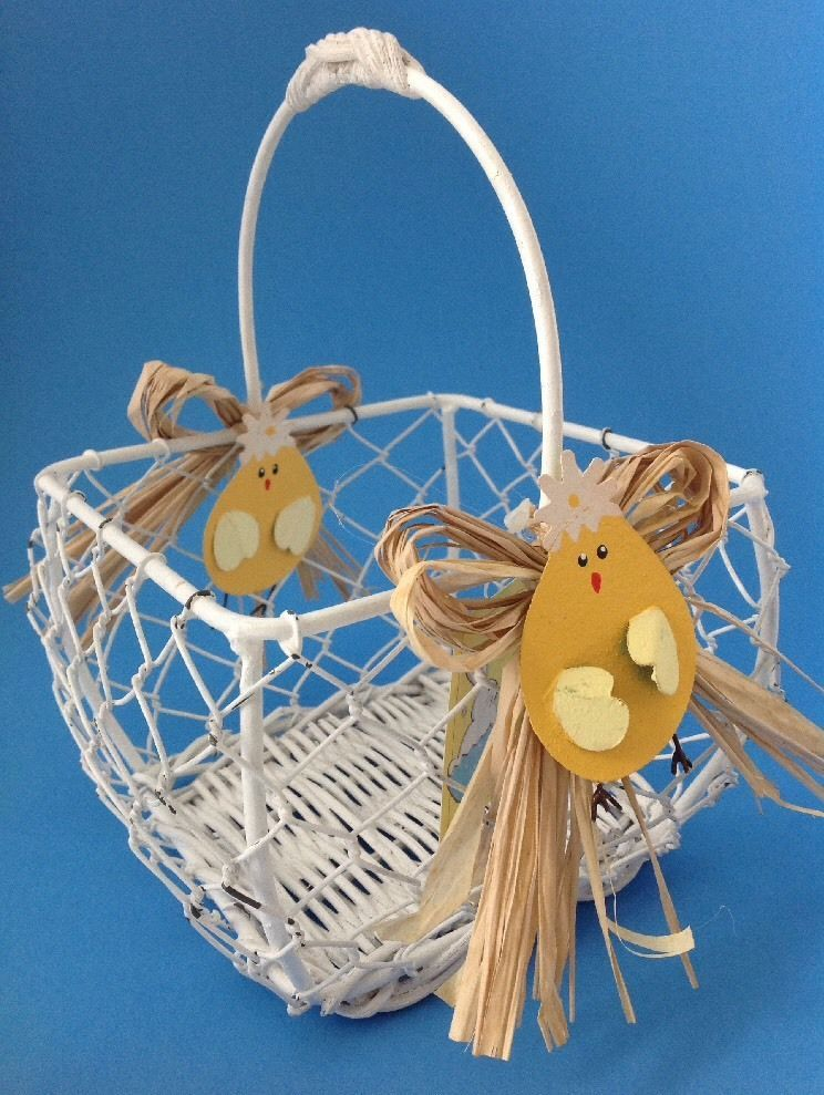 White Chicken Wire Easter Basket w Metal and similar items