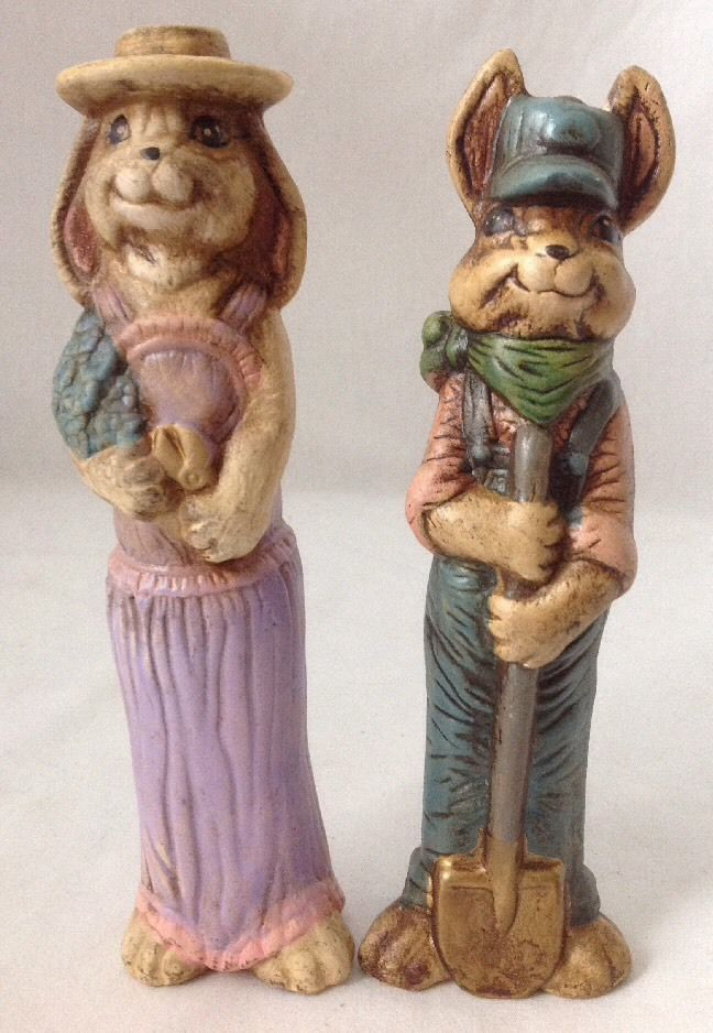 """2 Vintage Ceramic Easter Bunny Rabbit Figurines Boy and Girl Weathered 8"""" Tall - $19.95"""