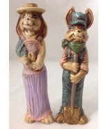 2 Vintage Ceramic Easter Bunny Rabbit Figurines... - $29.65