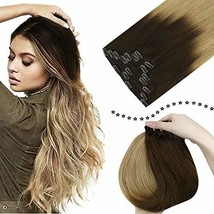 Easyouth 16inch Clip in Hair Extensions 100g Real Human Hair Clip on 7Pcs/Set Fu