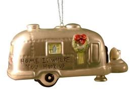 Silver RV Camper Trailer Camping Christmas Ornament Ceramic - $29.76