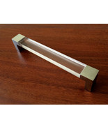 """6.3"""" Large Acrylic Silver Clear Dresser Drawer Pull Handles Cabinet Hand... - $8.00"""