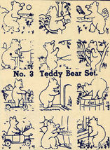 1930s Embroidery Iron-on Transfers Teddy Bear Quilt Depression 30s Prohibition - $4.99