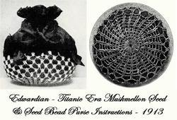Primary image for Antique Edwardian Muskmelon Seed Bead Bag Pattern 1913!