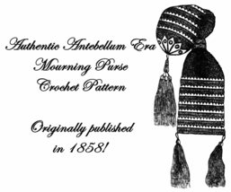 Antebellum Civil War Crochet Bead Purse Bag Pattern1858 - $3.99