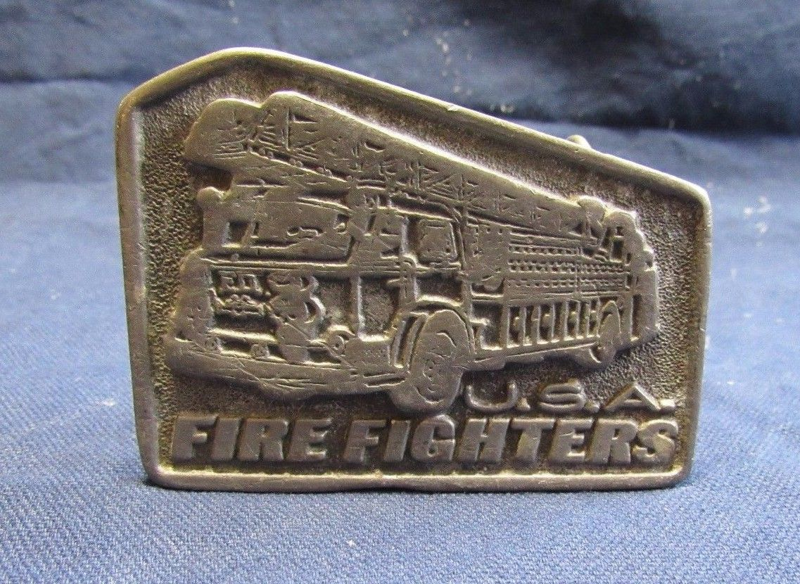 Vintage Fire Engine Firefighter USA Antique Finish Belt Buckle Five Sided