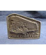 Vintage Fire Engine Firefighter USA Antique Finish Belt Buckle Five Sided - $19.83