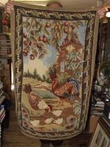 Vintage 1960s RUG Barnyard Rooster Hen Chicks 4... - $195.00