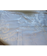 """VTG light Blue jacquard Lilly of the Valley  tablecloth 64""""x80"""" & 7 napk... - $78.21"""