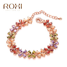 Charm Bracelet Women Fashion Clover Multicolored Crystal Jewelry Engagem... - $11.72
