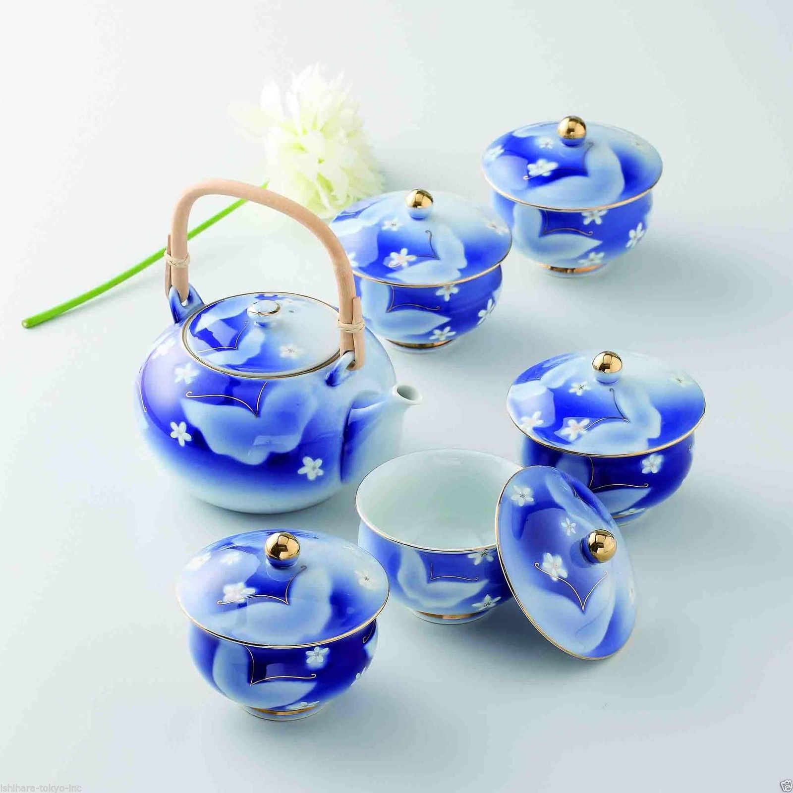 [Value] Hasami Porcelain: Butterfly - Japanese Kyusu Tea pot & 5 tea cup Set Box - $232.82