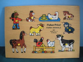 Vtg. Fisher Price Pick Up 'N Peek #507 Farm Ani... - $10.99