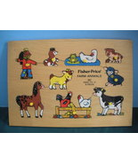 Vtg. Fisher Price Pick Up 'N Peek #507 Farm Animals Wood Puzzle Good-VG (D) - $10.99