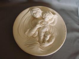 "Exquisite  Alabaster "" Madonna Modesta "" Relief  Sculpture Collector Plate - $11.00"