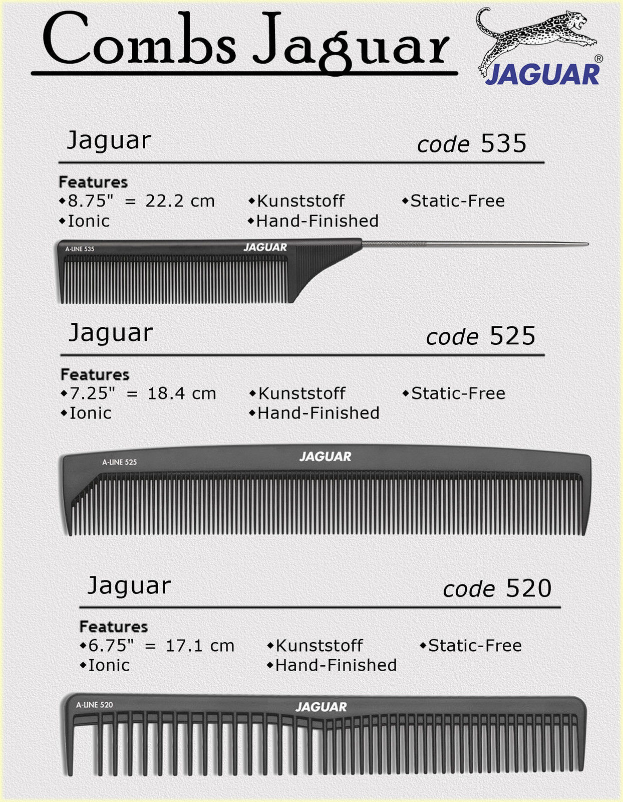 Primary image for PROFESSIONAL Combs Jaguar A-Line 520 A-Line 525 A-line 535 Brand