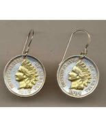 Earrings, Old U.S. Indian penny, 2-Toned Gold on Silver coin - Earrings - $79.95