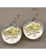 Earrings, U.S. Bison nickel, 2-Toned Gold on Silver  Coin -  Earrings - $74.95