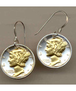 Old U.S. Mercury dime 2-Toned Gold on Silver Coin -  Earrings - $89.95