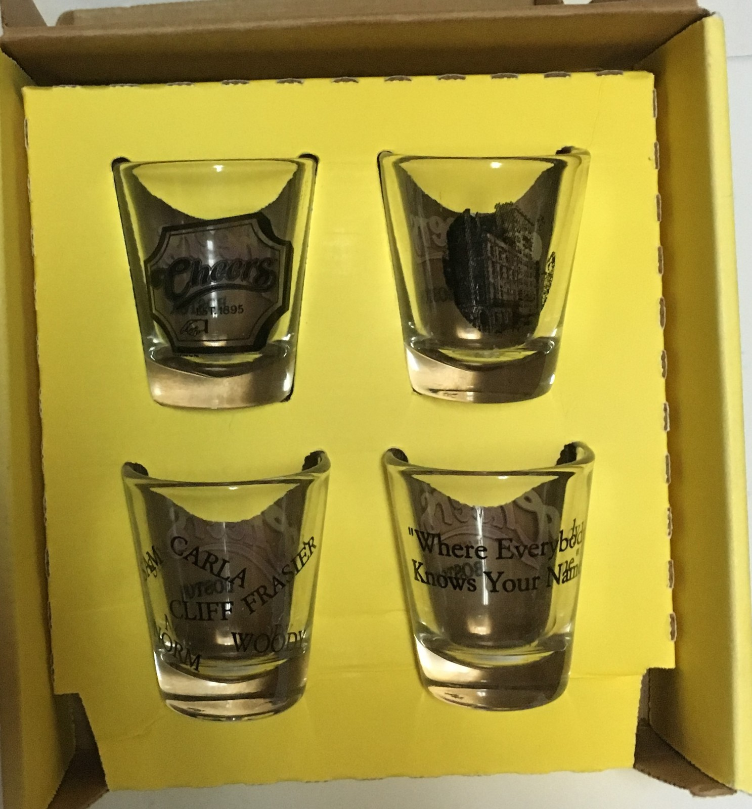 CHEERS TV Show Shot Glasses Set of 4 Boston Where Everybody Knows Your Name