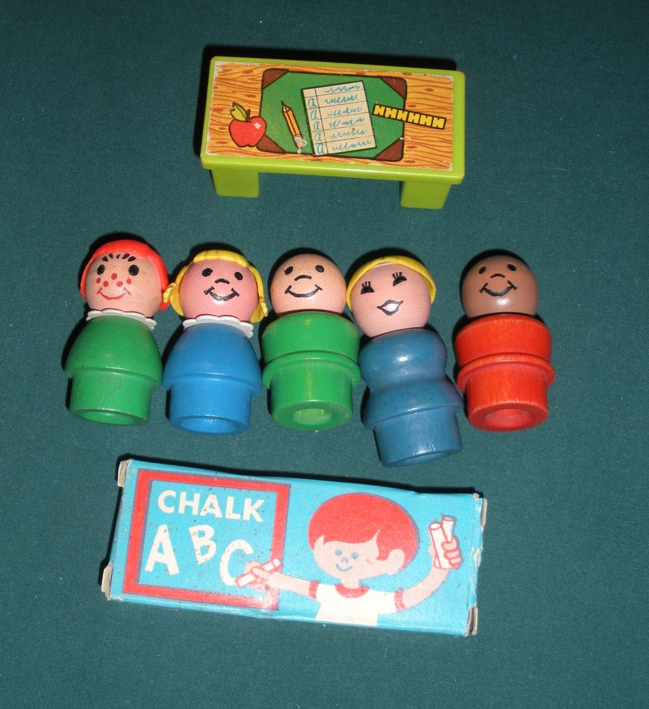 Vintage Fisher Price Play Family #923 School 99% Comp w/ Wood LP./EXC-EXC++ (F)
