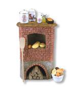 Dollhouse Filled Corner Brick Oven Set 1.857/7 Reutter Miniature - $55.00