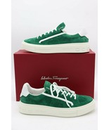 NIB SALVATORE FERRAGAMO Borg Gancini Logo Green Suede Sneakers Shoes 9 4... - $345.00