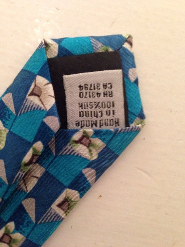 Geoffrey Beene Aqua Blue White Floral Motif Neck Tie Silk image 3
