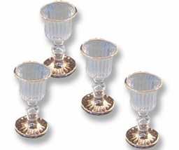 DOLLHOUSE 4 Empty Victorian Wine Glass 1.463/8 Reutter Gold Rim Goblet M... - $22.75