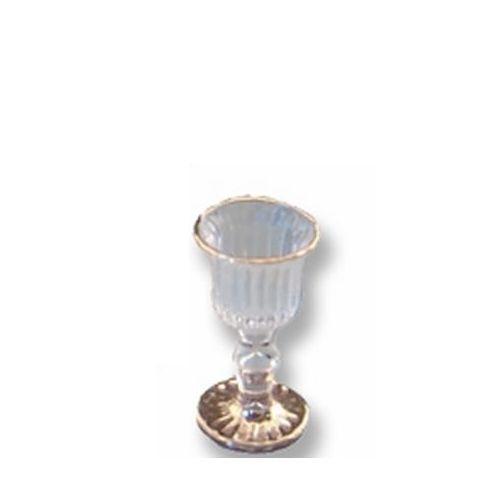 DOLLHOUSE 4 Empty Victorian Wine Glass 1.463/8 Reutter Gold Rim Goblet Miniature