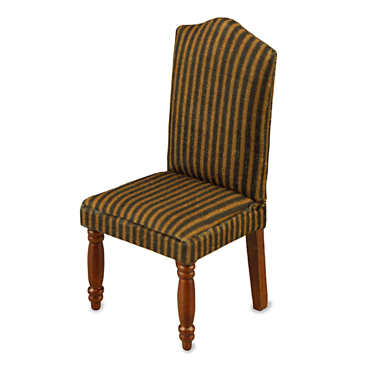 Dollhouse dining chair 18342 reutter brown stripe for Striped upholstered dining chairs
